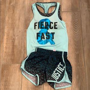Justice active set  tank and shorts Girls sz 8